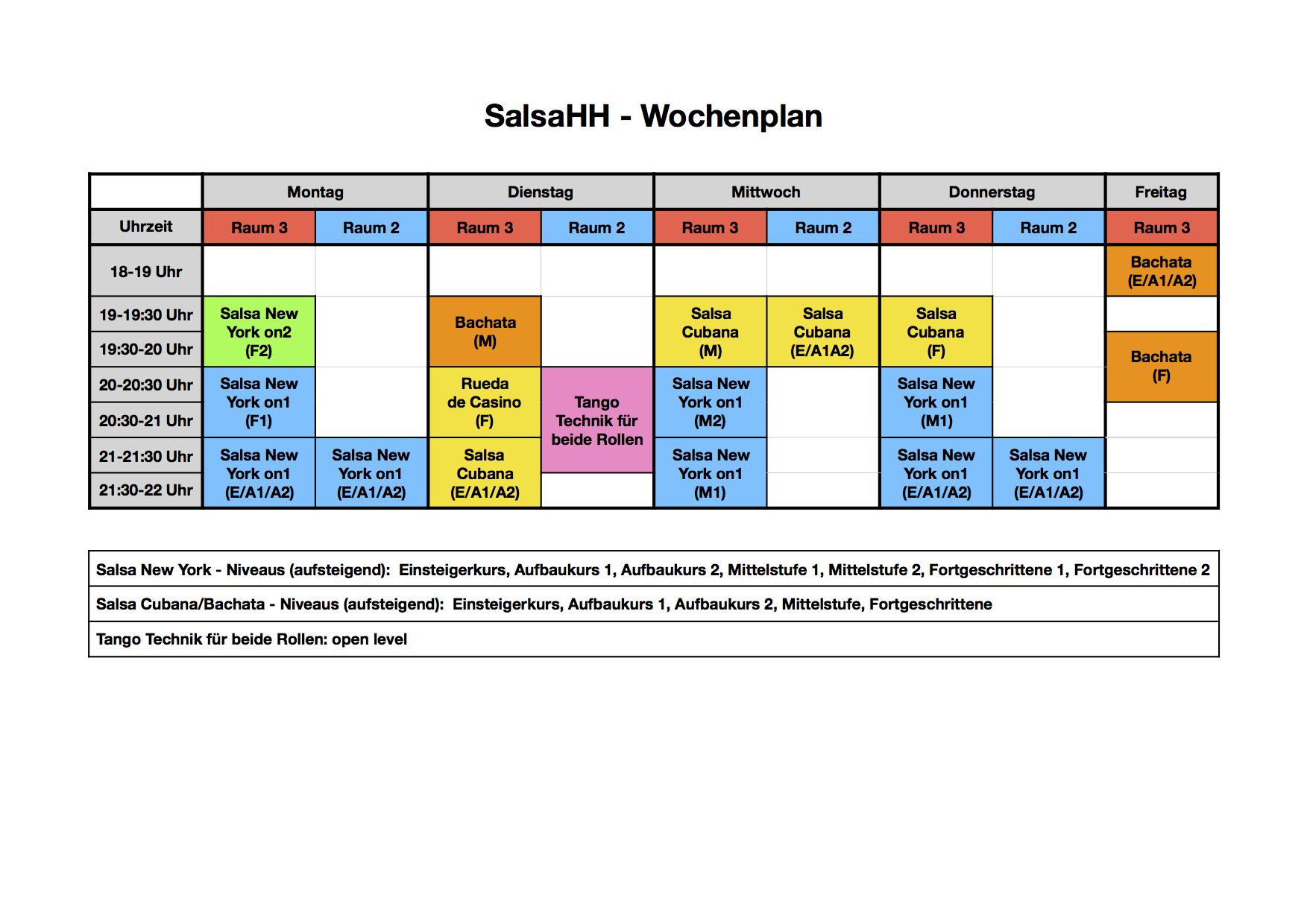 SalsaHH - Wochenplan 2017
