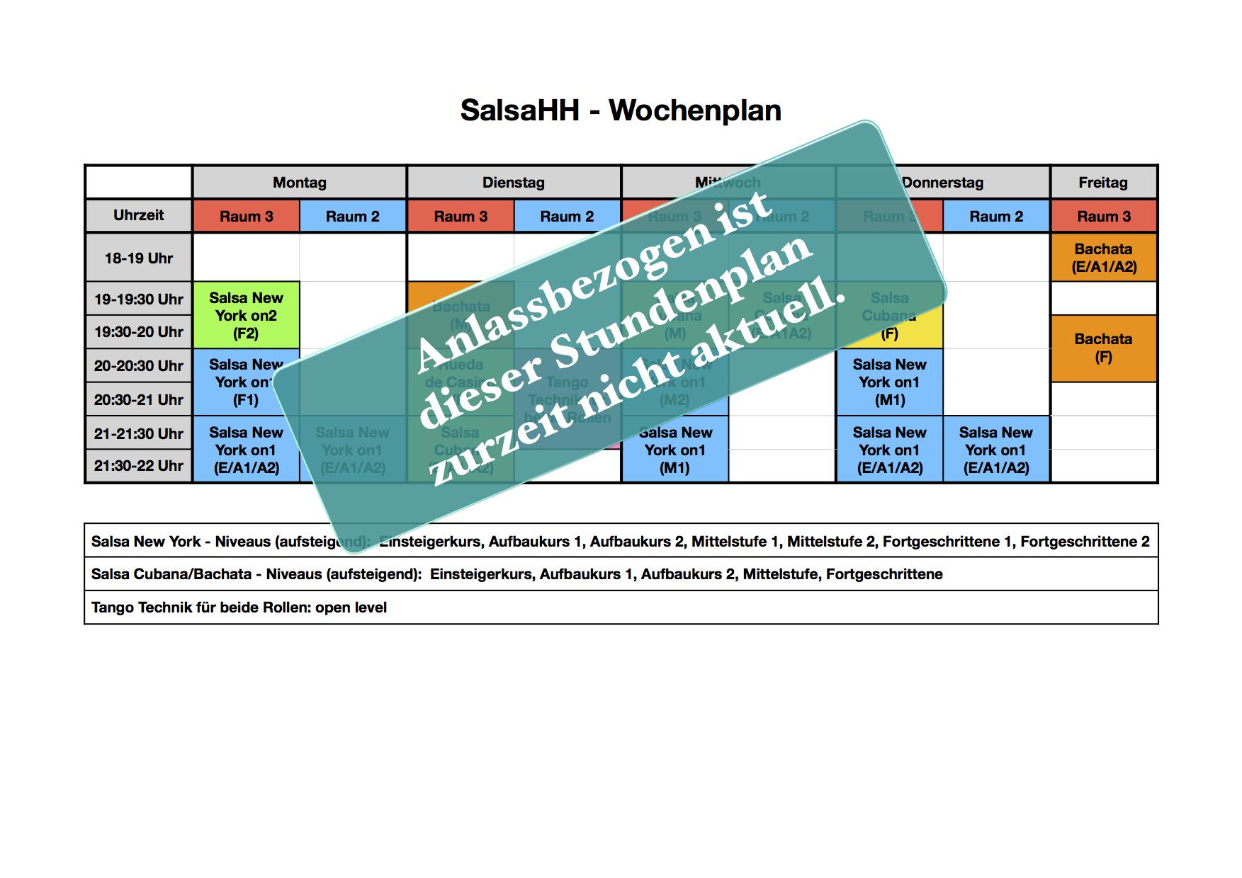 SalsaHH - Der Stundenplan ist coronabedingt nicht aktuell.