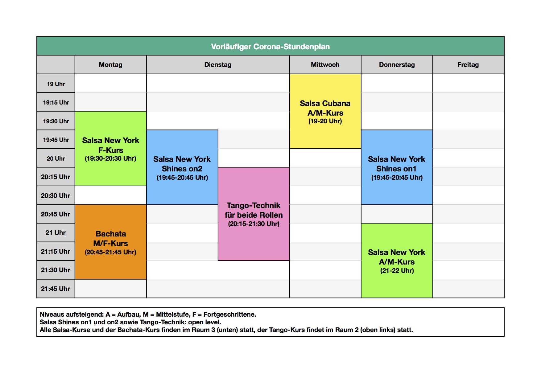 SalsaHH - vorläufiger Corona-Stundenplan