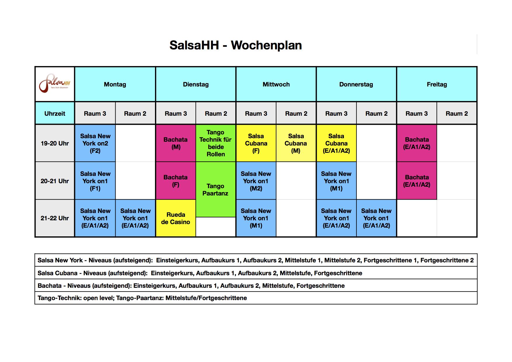 SalsaHH-Wochenplan (Stand 10.2020)